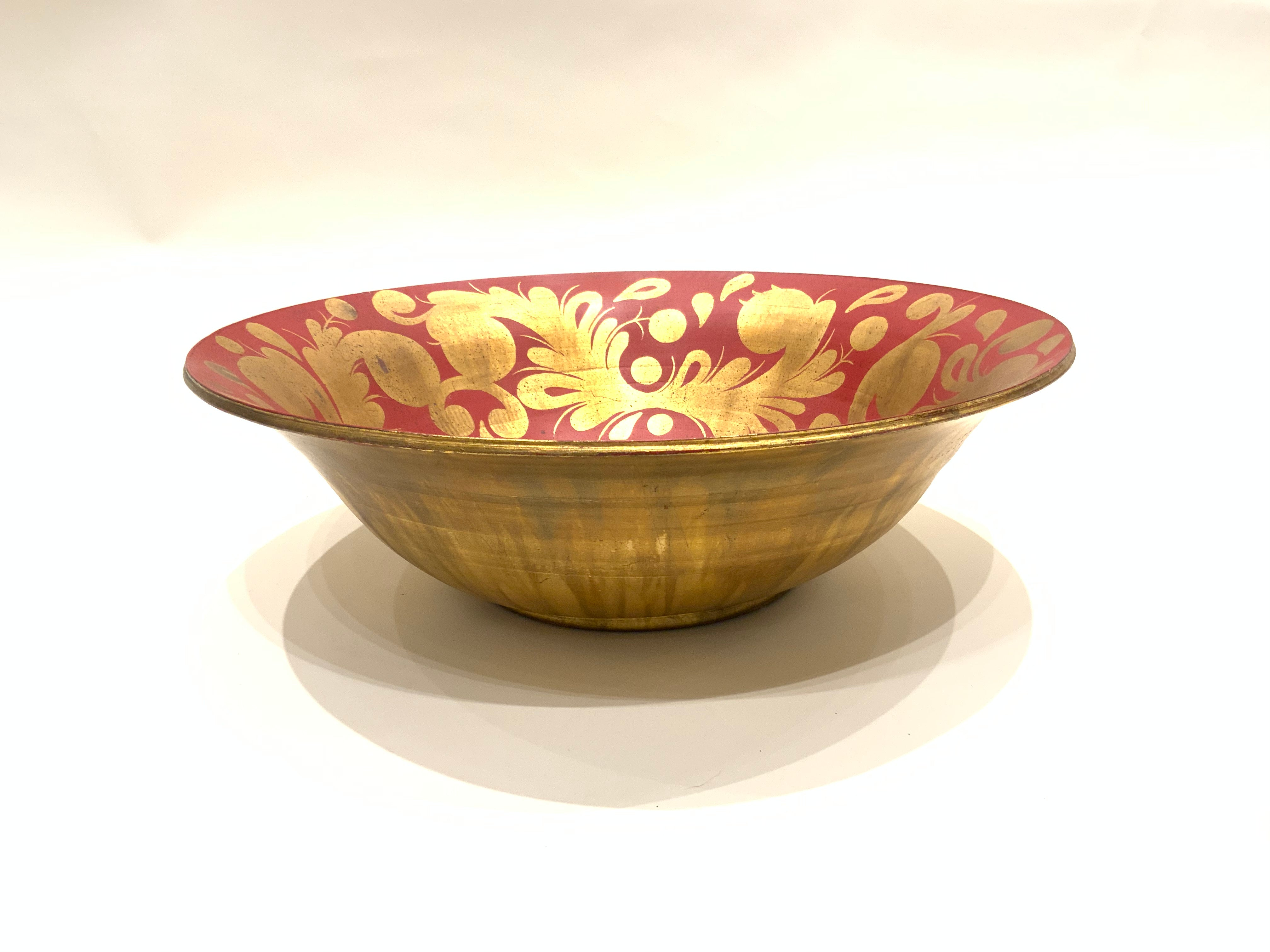 Burts Cason Handmade Red & Gold Bowl