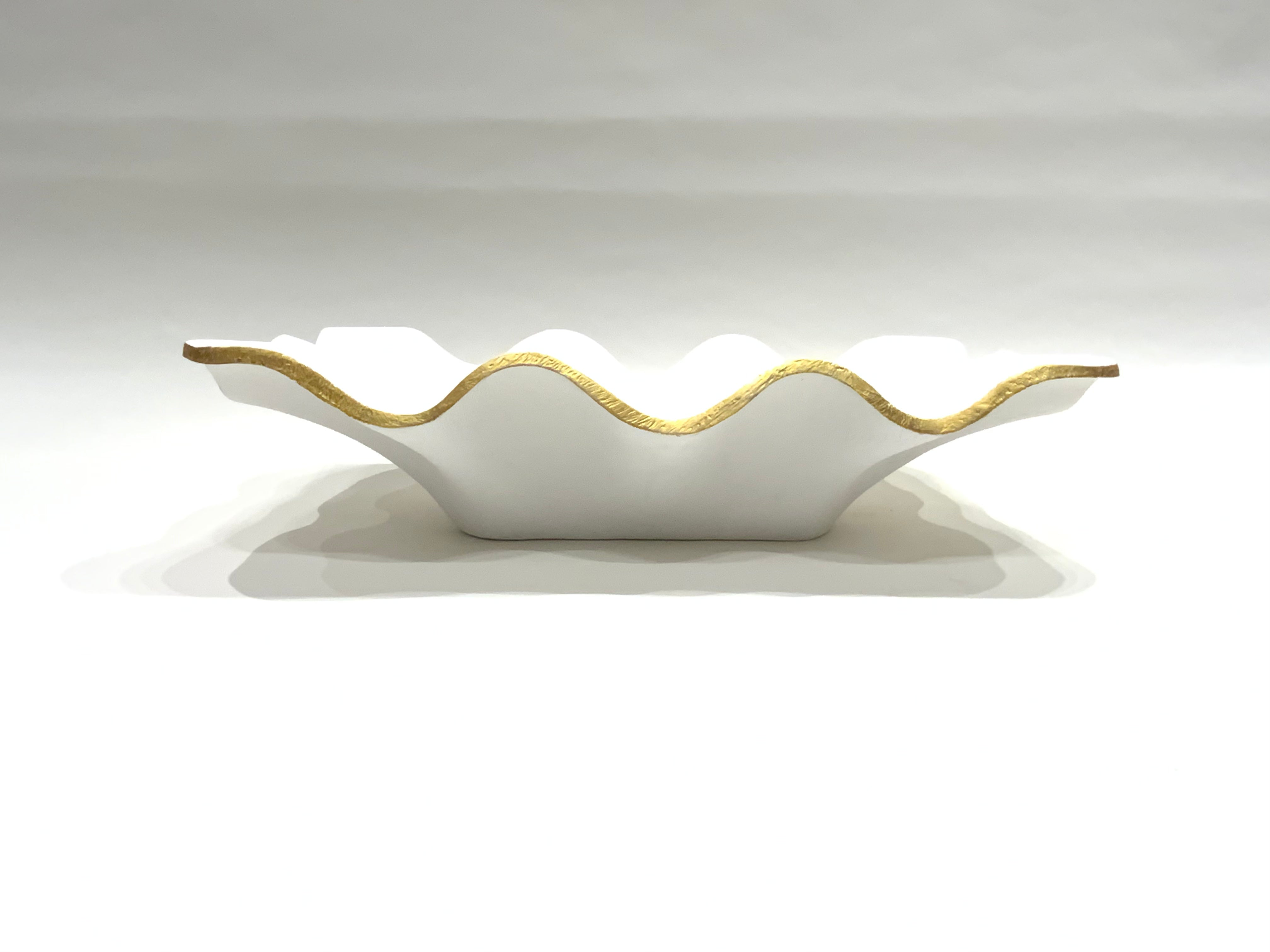 White Scalloped Center Piece Bowl w/ Gold Trim