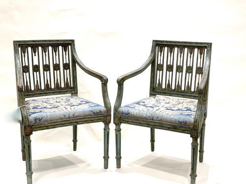 Pair of Antique Hand Painted Italian Chairs