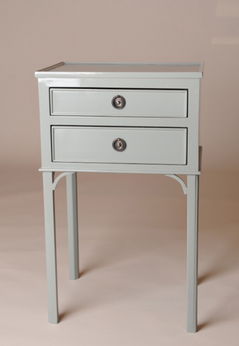 Light Blue Lacquered Swedish Two Drawer Side Table