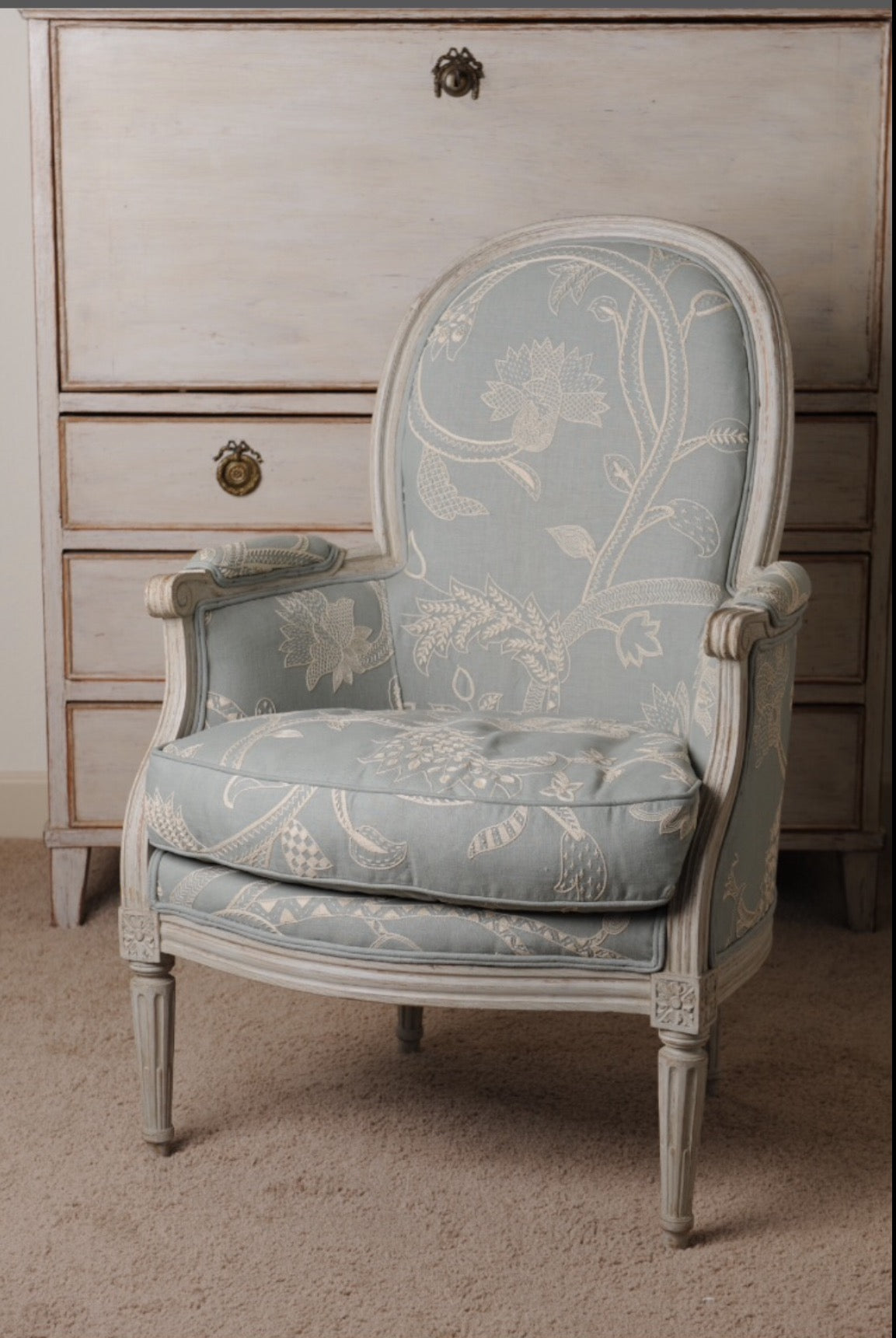 Bergere Chair Hand Embroidered