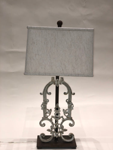 Antique Iron Lamp with Cream Finish