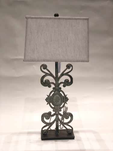 Antique Iron Medallion Lamp
