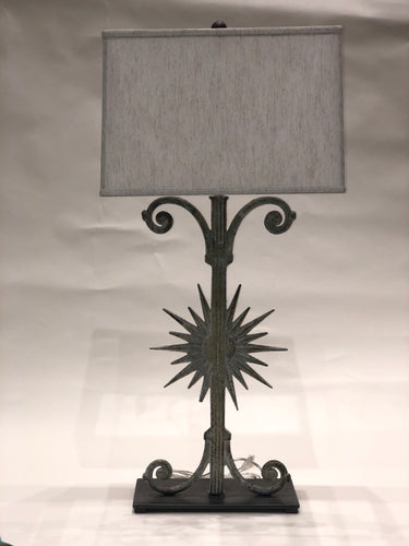 Large Antique Iron Sun Lamp