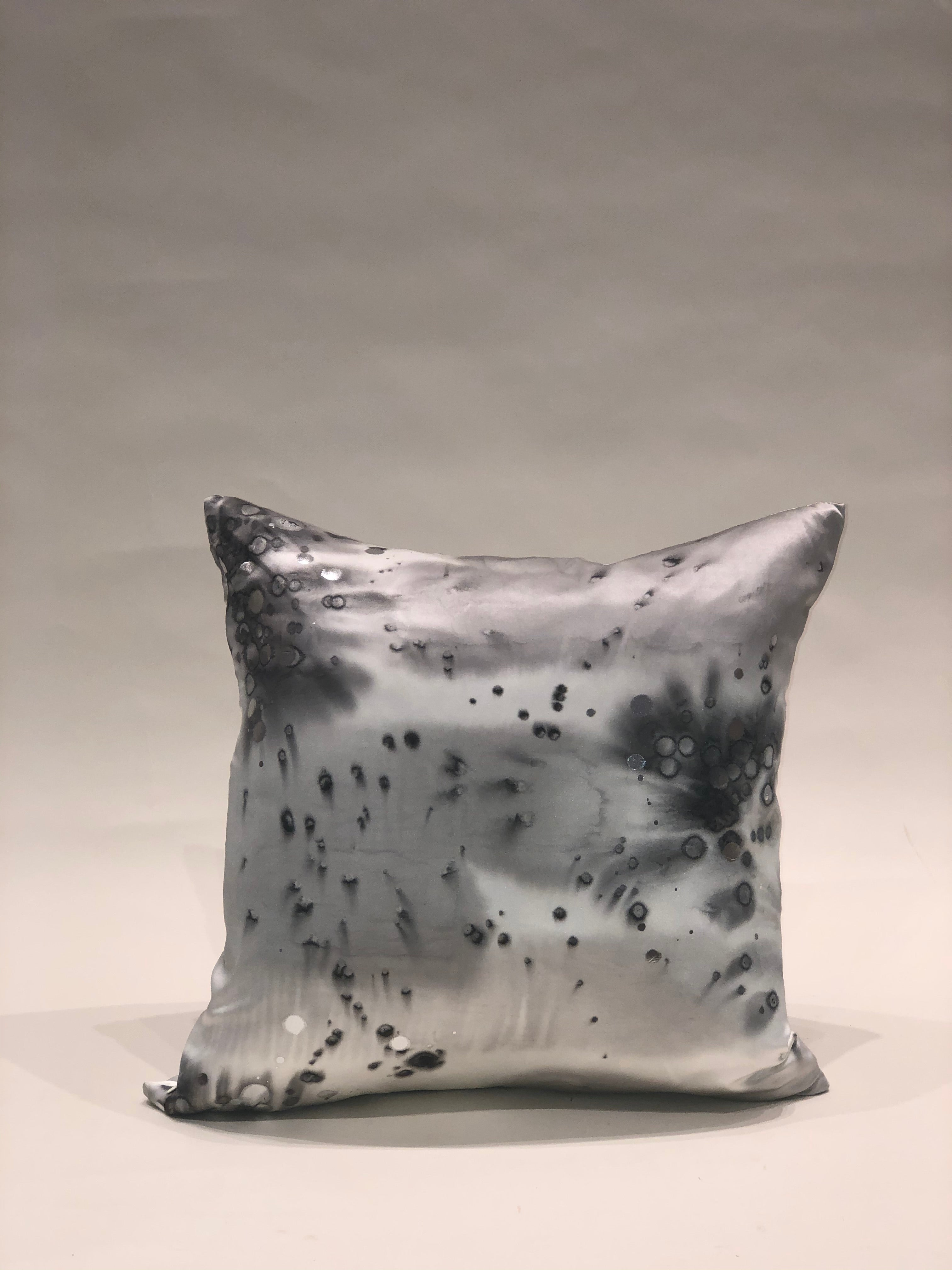 Grey and silver Silk Pillow