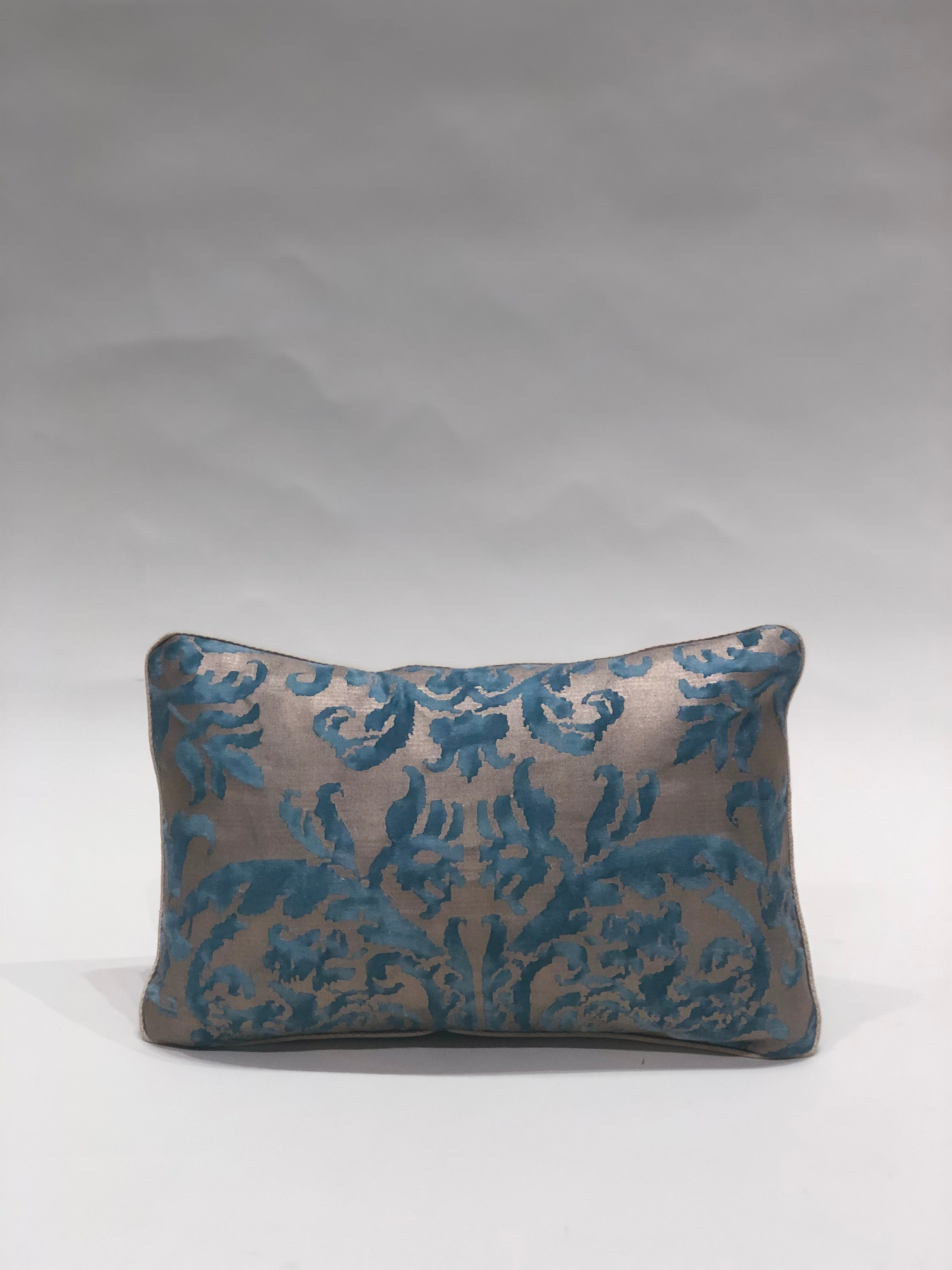 Small Aqua and Gold Fortuny Pillow
