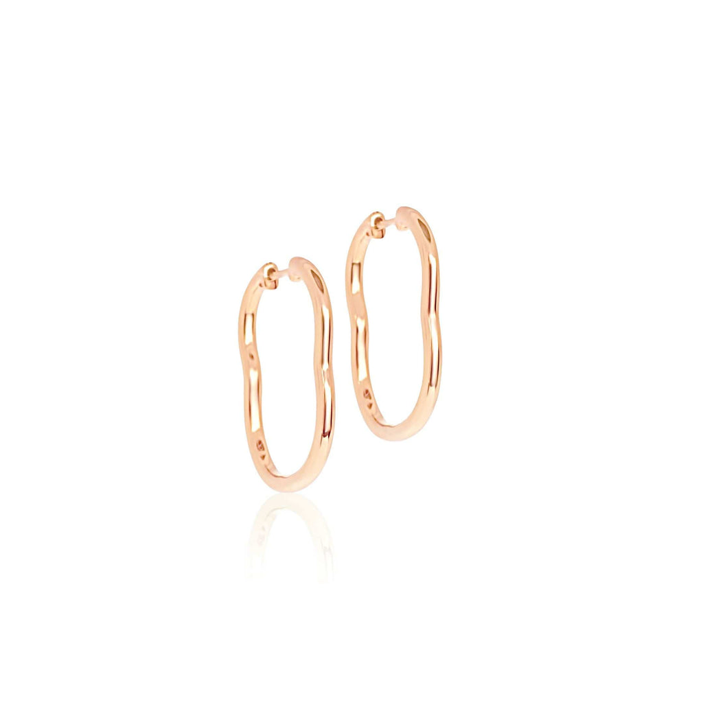 BERCEAU 18K Gold Hoop Earrings - Rose earrings ALMASIKA