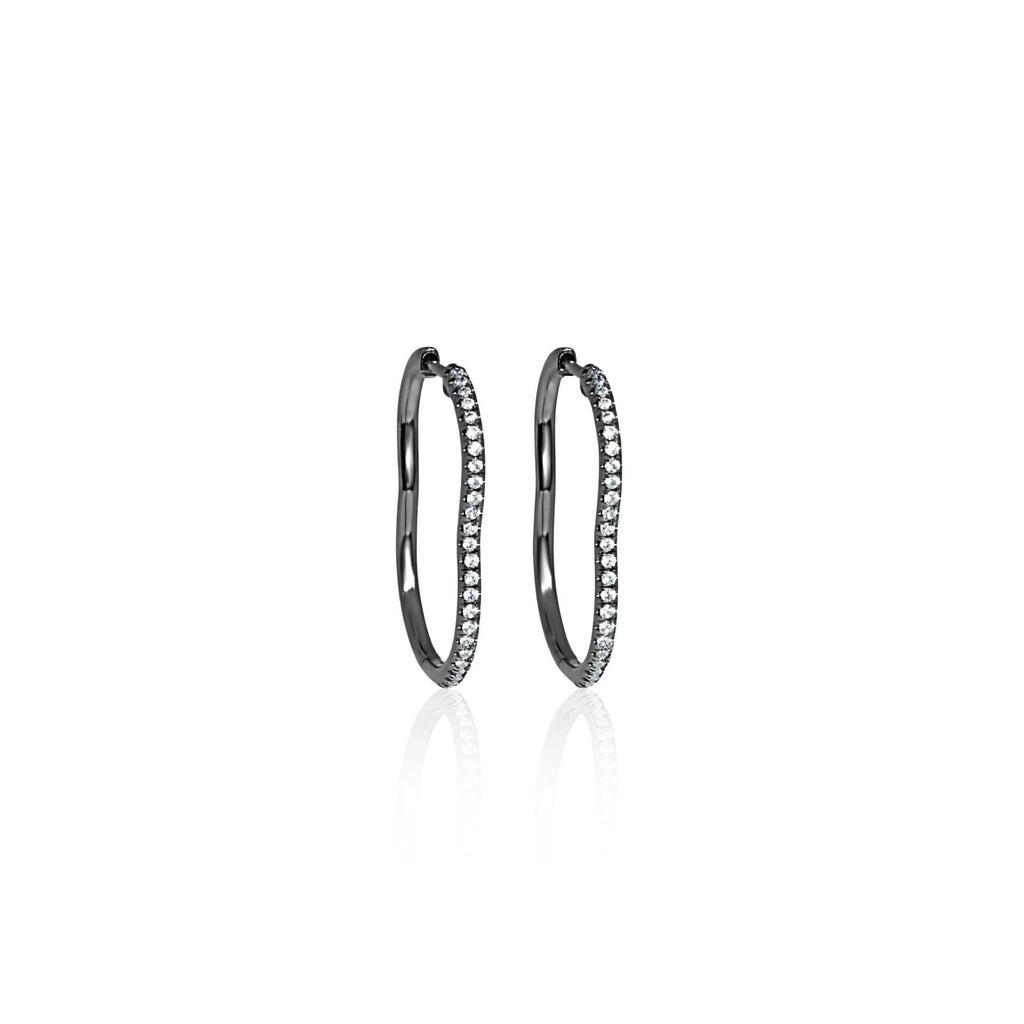 BERCEAU Diamond Hoop Earrings - Black earrings ALMASIKA