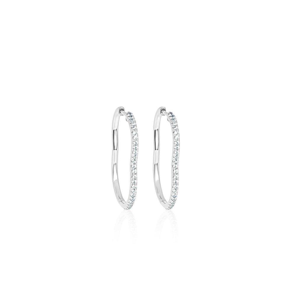 BERCEAU Diamond Hoop Earrings - White earrings ALMASIKA