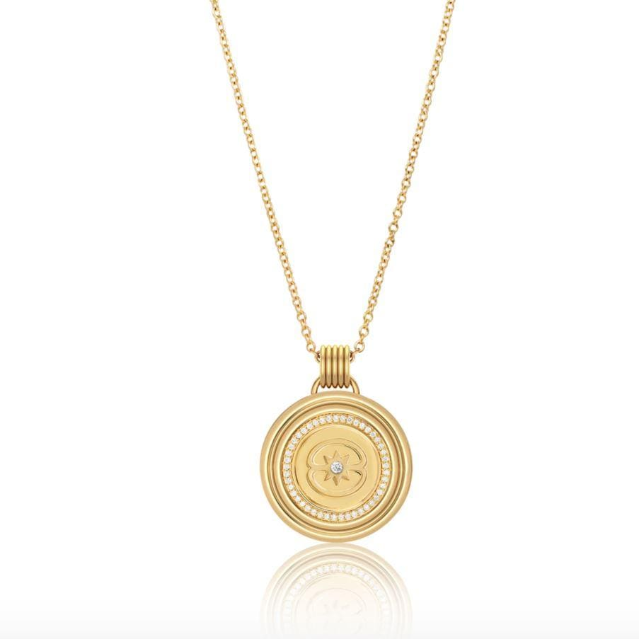 Sagesse - Stella Pave Medallion 23mm Necklace ALMASIKA