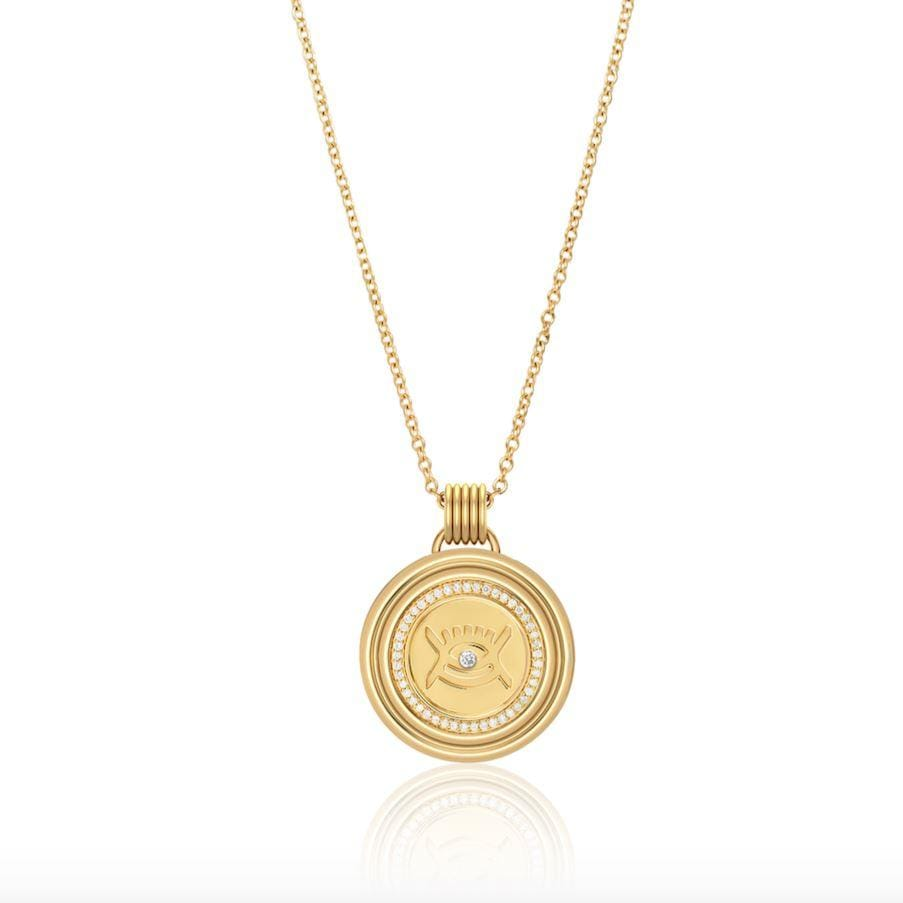 Sagesse - Vidi Pave Medallion 23mm Necklace ALMASIKA
