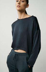 Cropped Satin Pullover