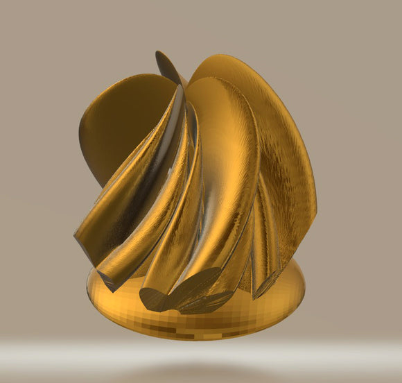 Modern Sculpture 03 Gold 5 Peaks, Twisted