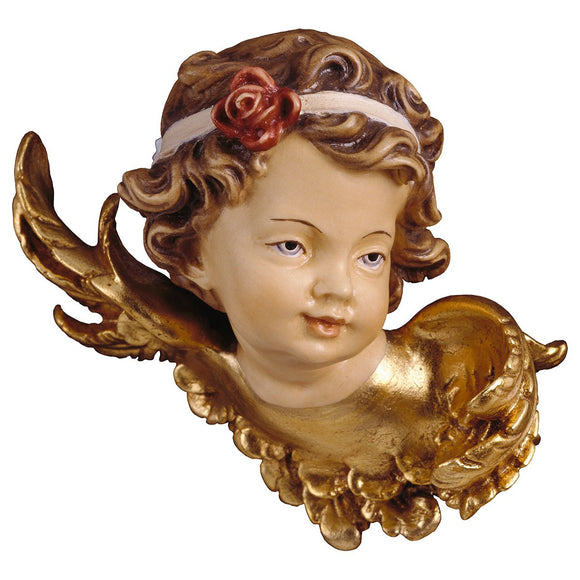 Angel-head w. rose left side