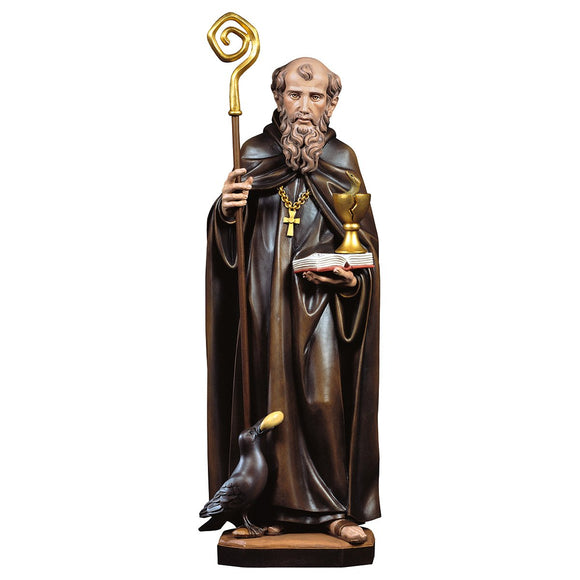 St. Benedict from Nursia w. calyx and snake + crow and bread