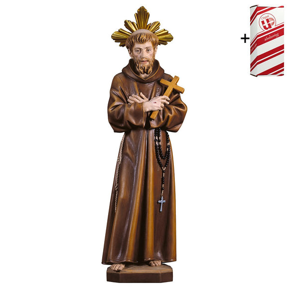 St. Francis of Assisi w. cross w. Aura + Gift Box