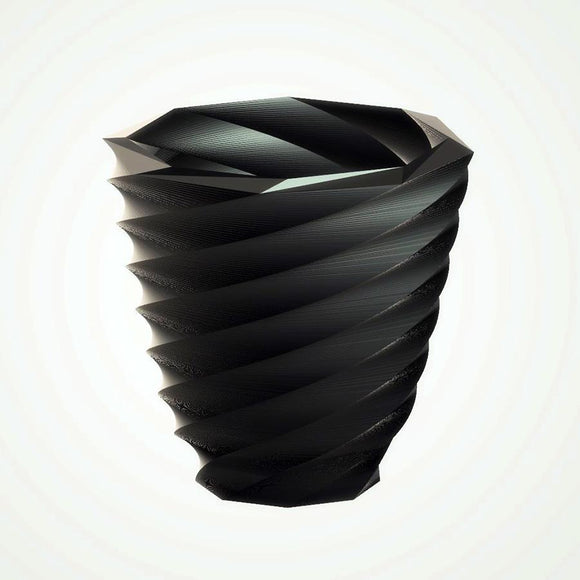 Modern Large Twist Vase, Ebony