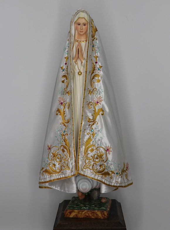 Embroidered Satin Veil for Statue