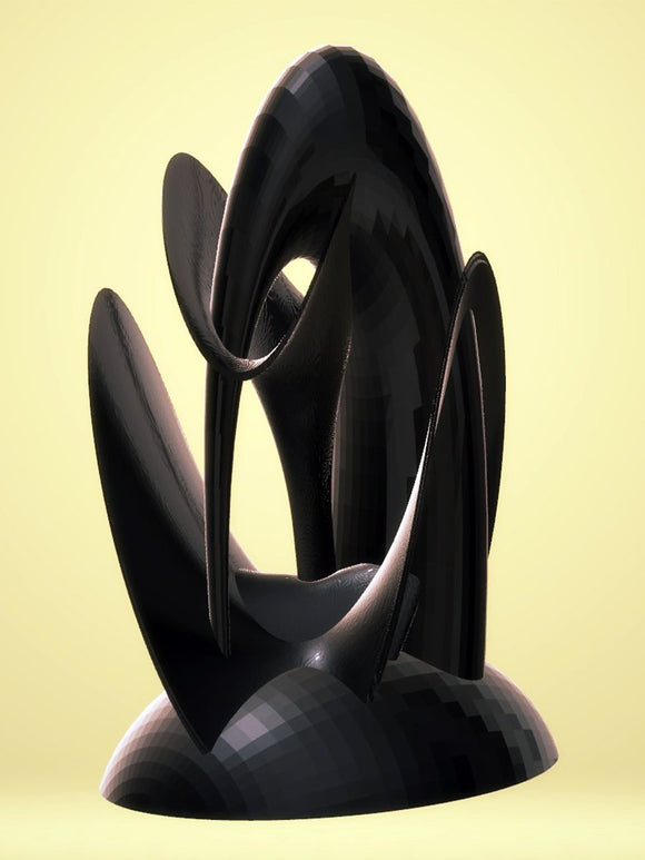 Center Piece Elongated Sculpture - Black