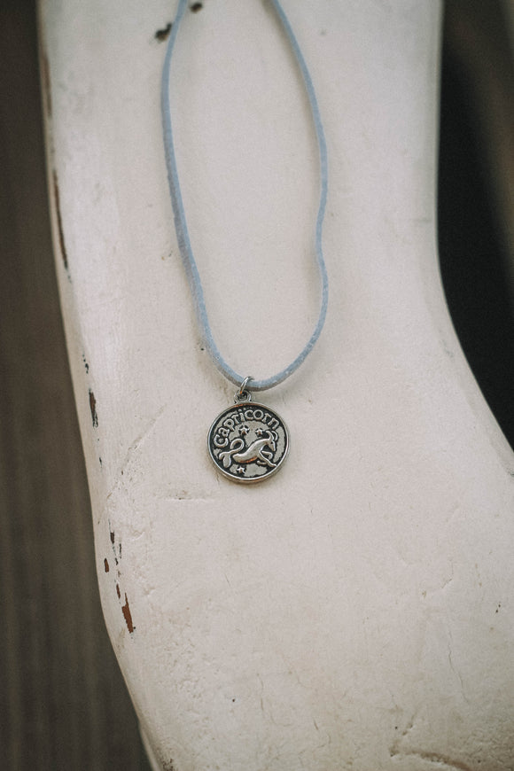 CAPRICORN : Astrology Charm Choker // in Light Blue