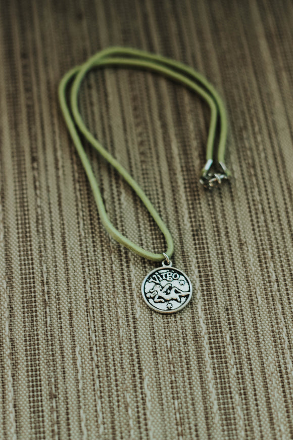VIRGO : Astrology Charm Choker // in light green