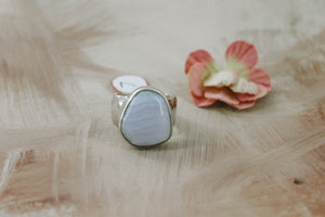 Blue Lace Agate Ring // Size 7