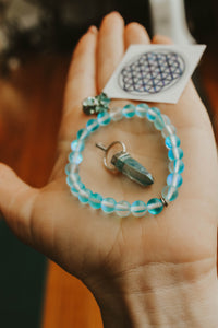Blue Hue Bliss Set // Crystal Pendant & BISMUTH mineral