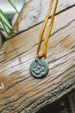 OM : handmade clay pendant necklace