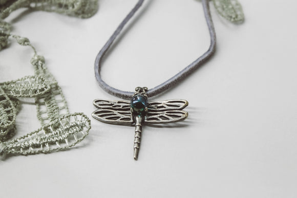 Dragonfly Pendant // sterling silver & iridescent glass