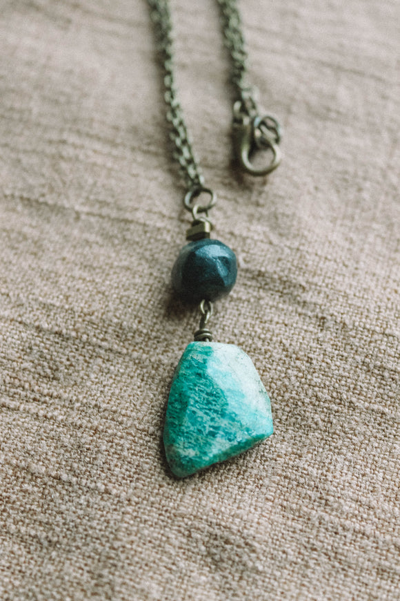 TURQUOISE & AMAZONITE drop chain necklace