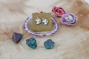 Rainbow Unicorn Set // earrings, crystals & bracelet