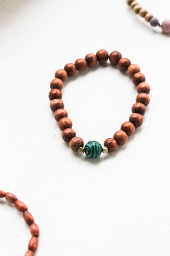 Malachite & wood bracelet