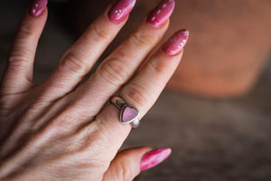 Pink Watermelon Tourmaline Slice Sterling Silver ring