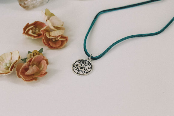 VIRGO : Dark Teal Astrology Necklace