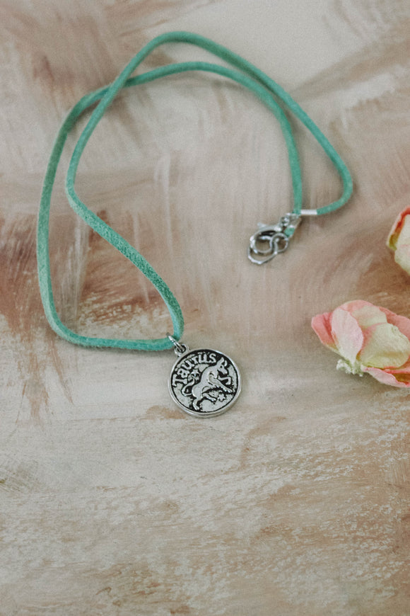 T A U R U S // mint green astrology choker