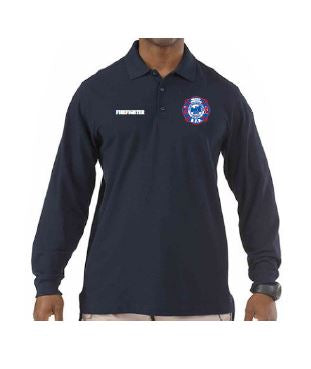 CityRFD- Utility Long Sleeve Polo with back print