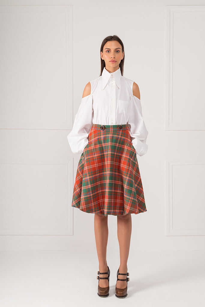 """ Reddish Wool Tartan Skirt """
