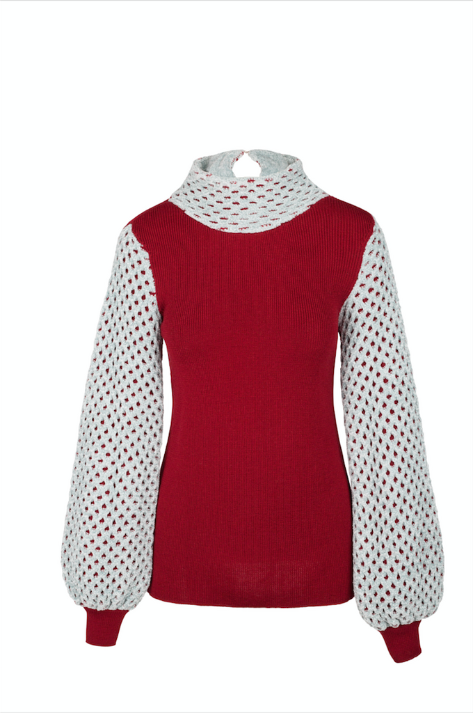 """ Red hand knitted Top"""