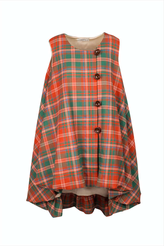 """ Reddish Wool Tartan Top"""