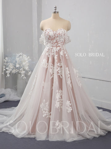 Blush A line off shoulder tulle wedding dress 724A1484
