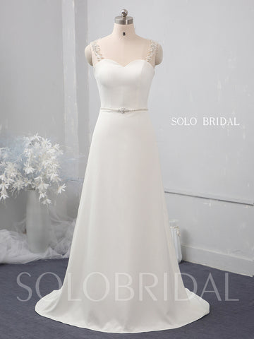 Ivory small A line crepe wedding dress 724A1526