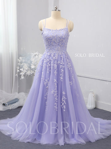 Purple A line tulle proom bridesmaid dress 724A1571