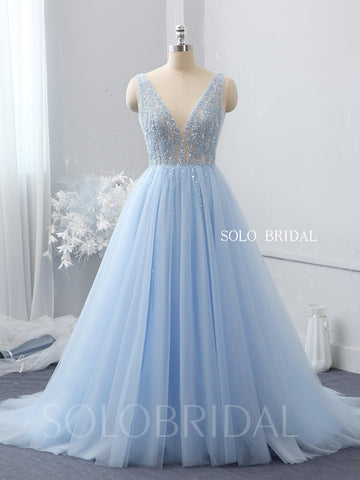 Sky blue V neck beaded top tulle wedding dress 724A2137