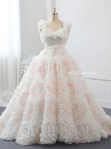 Ivory flower ball gown wedding dress 724A2209