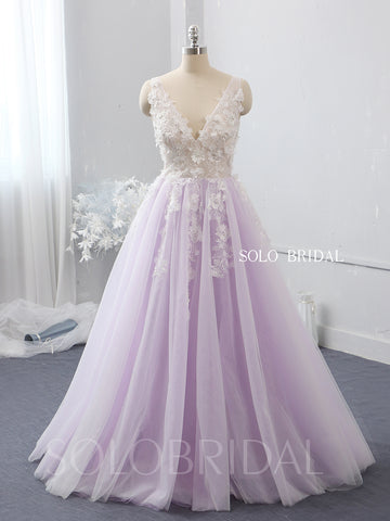 V neck 3D flower ivory and purple wedding dress 724A2293