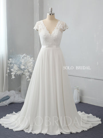 V neck ivory chiffon A line wedding dress 724A2348