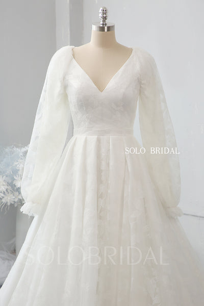 Ivory leaf lace loose sleeve wedding dress 724A2376