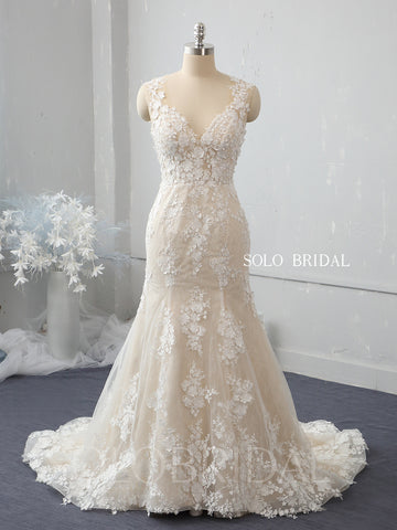 Champagne fit and flare wedding dress with overskirt 724A2395