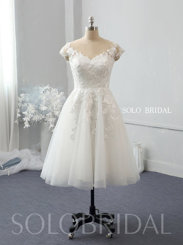 Ivory knee length small A line wedding dress 724A2624