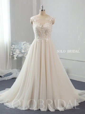 Light champagne A line lace tulle wedding dress 724A2646